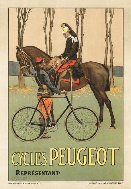 Peugeot Vintage Bicycle Poster Print