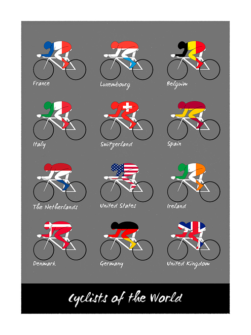 Cyclists of the World Bicycle Poster