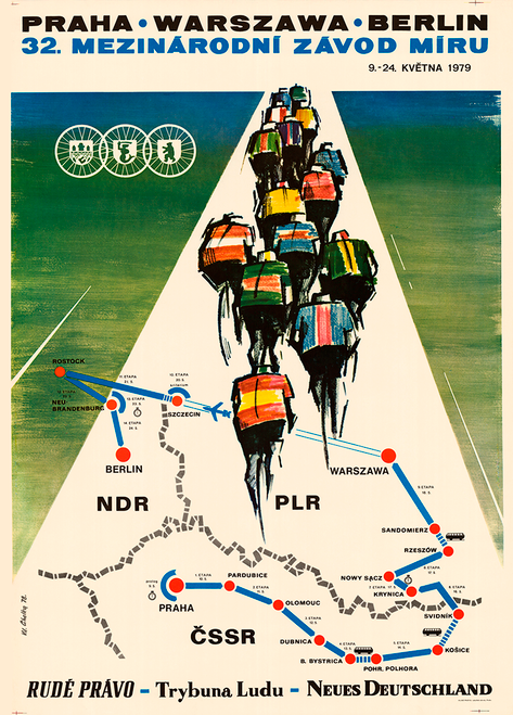 1979 Peace Race Bicycle Poster - Berlin Prague Warsaw