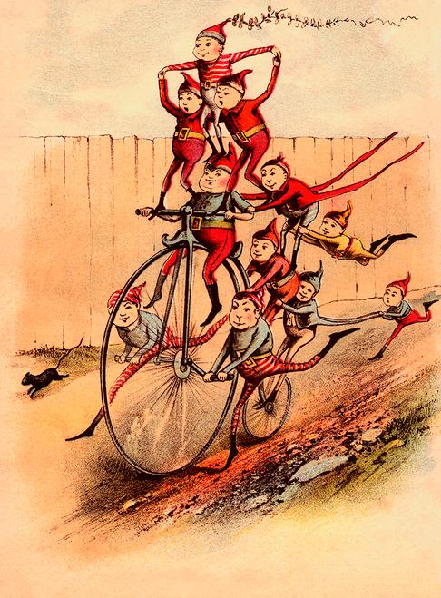 Big Wheel Elves 1890's Victorian Image Bicycle Poster