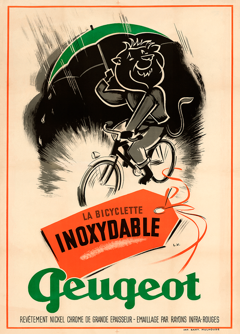 Peugeot INOX Stainless Steel French Bicycle Poster by L.V.