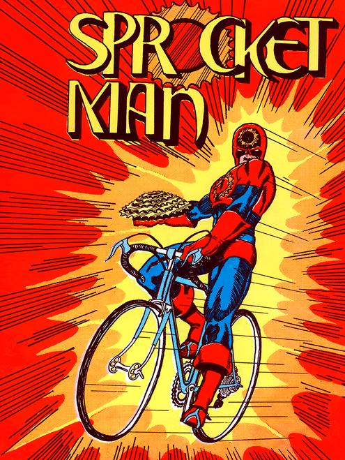 Sprocket Man Bicycle Super Hero Poster