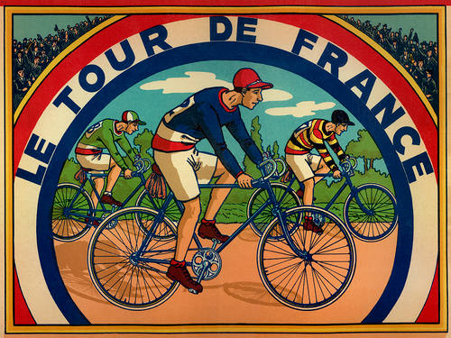 Tour de France Board Game Bicycle Poster from a 1930's poster