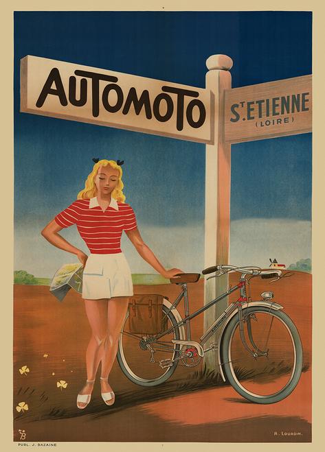 Automoto Art Deco Vintage Bicycle Poster Print