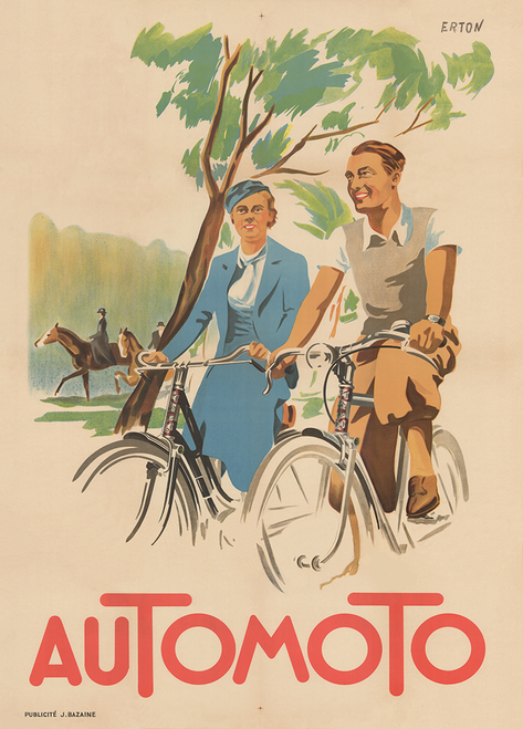 Automoto Art Deco Vintage Bicycle Poster Print