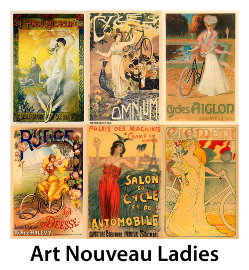 Art Nouveau Ladies Bicycle Posters - Set of 6 posters
