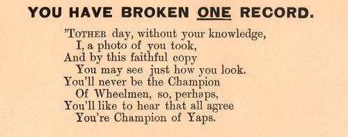 Champion of Yaps American anti-cycling satirical poster poem
