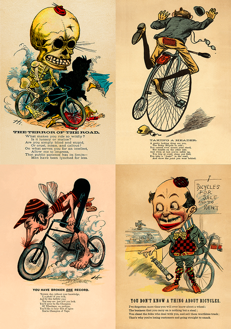 Anti-Cycling satirical posters from the 1890's