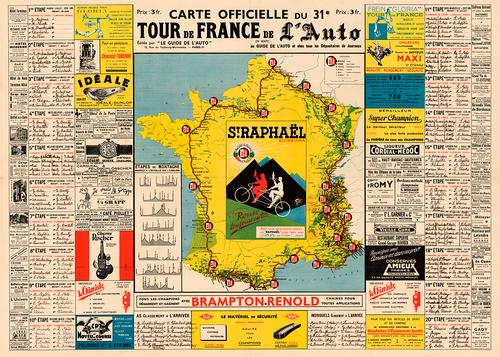 1937 Tour de France Map Poster