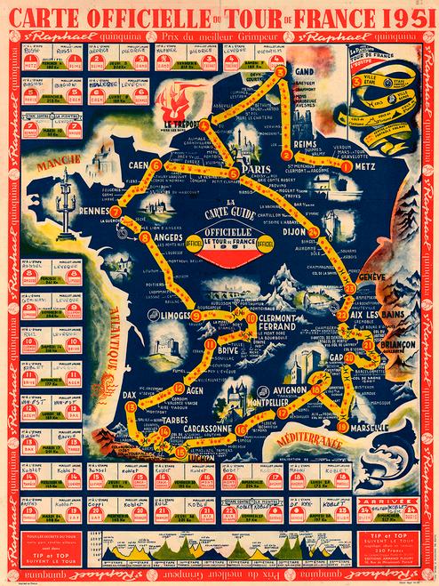 1951 Tour de France Map Poster