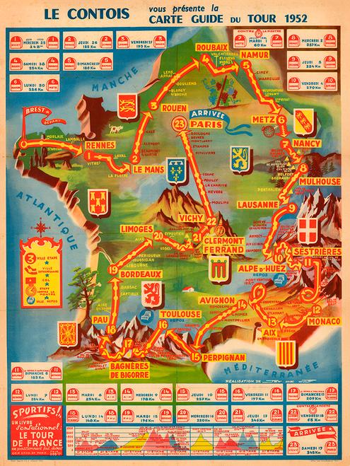 1952 Tour de France Map Poster