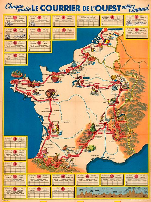 1954 Tour de France Map Poster