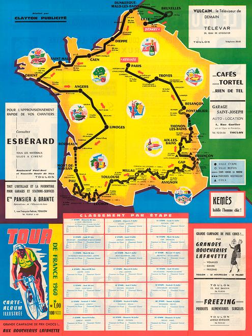 1960 Tour de France Map Poster