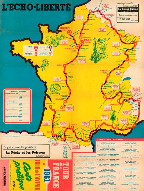 1961 Tour de France Map Poster