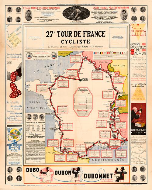 1933 Tour de France Map Poster