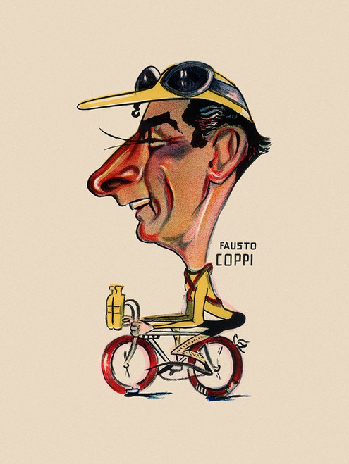Fausto Coppi Caricature Poster from the 1949 Giro d'italia