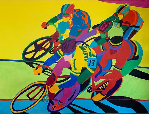Red Man Chases Australia - original art prints by Sandra Wright Sutherland