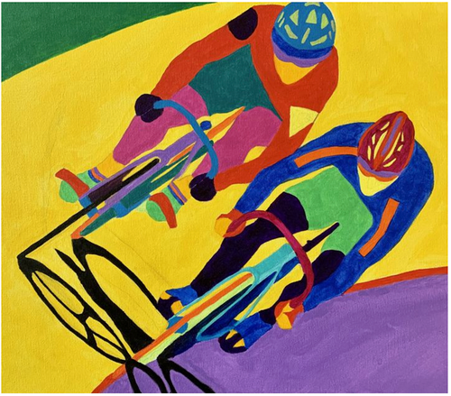 Two Sprinters  - Velodrome Art by Sandra Wright Sutherland