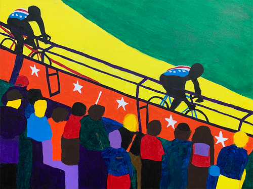 Olympic Sprints track racing in the velodrome - original art prints by Sandra Wright Sutherland