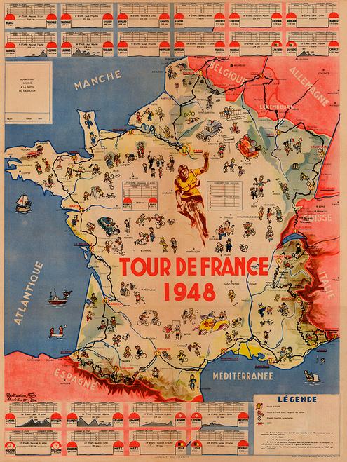 1948 Tour de France Map Poster