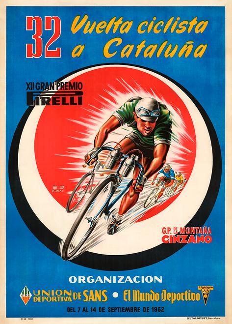 1952 Vuelta a Cataluna Bicycle Poster Print