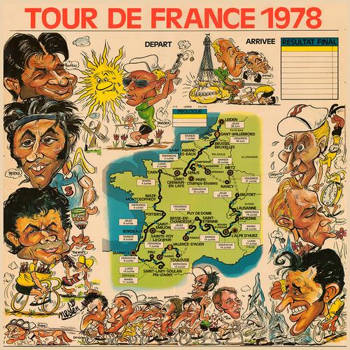 1978 Tour de France Caricatures Map Poster print