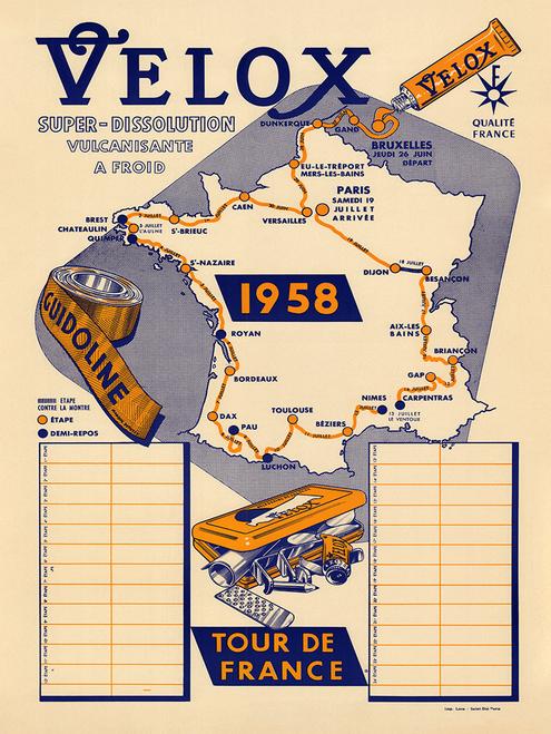1958 Velox Tour de France Vintage Map Poster designed so fans could follow the race