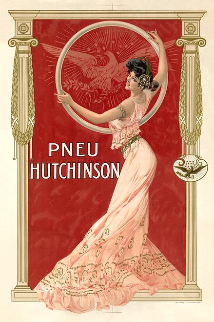 Pneu Hutchinson Vintage Bicycle Poster Prints