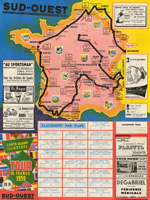 1959 Tour de France Vintage Map Poster designed so fans could follow the race