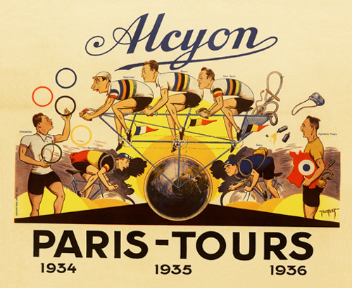 Alcyon - Paris-Tours Bicycle Poster, Bicycle Race