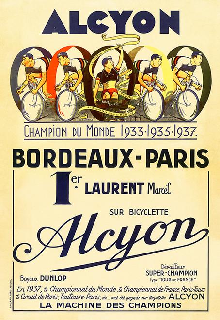 Alcyon - Bordeaux-Paris Bicycle Race Poster