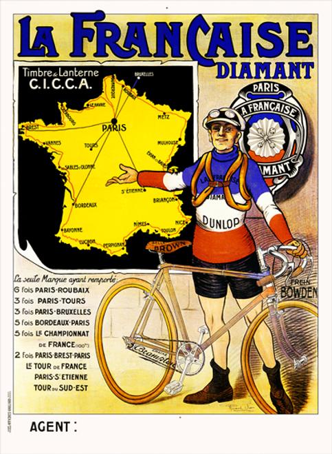 La Francaise Diamant TDF Bicycle Poster