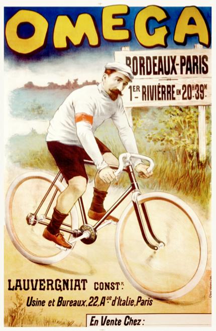 Omega Bordeaux-Paris Cycling Race Poster