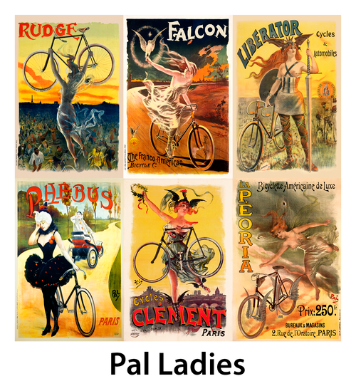 PAL Ladies Vintage Bicycle Posters - Set of 6