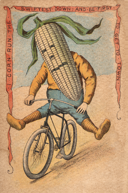Corn Vegetable Rider Bicycle Poster