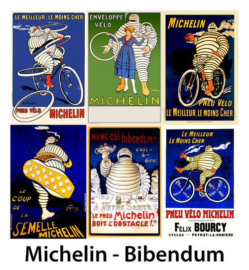 Bibendum, The Michelin Man Bicycle Posters - Set of 6
