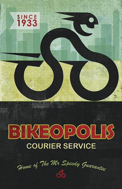Bikeopolis Courier Service Bicycle Poster by John Evans