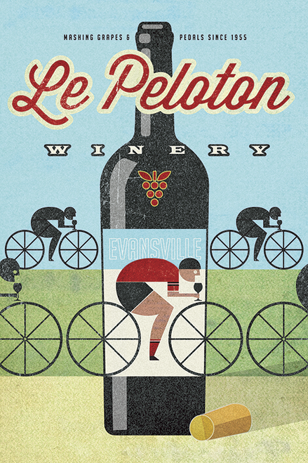 Le Peloton Winery Bicycle Poster by John Evans