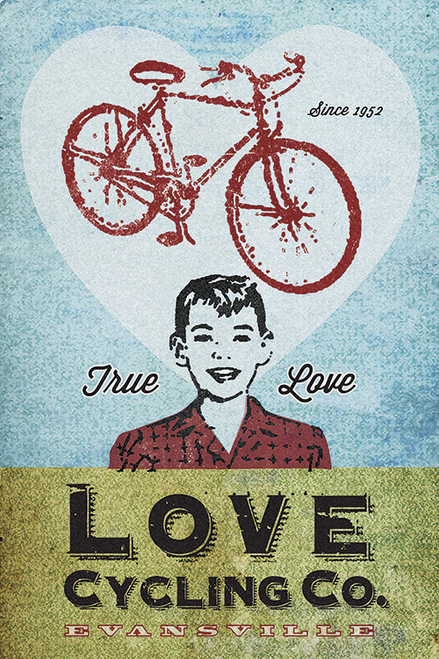 Love Cycling Company Bicycle Poster by John Evans