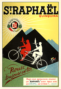 1937 St Raphael Tandem Bicycle Poster