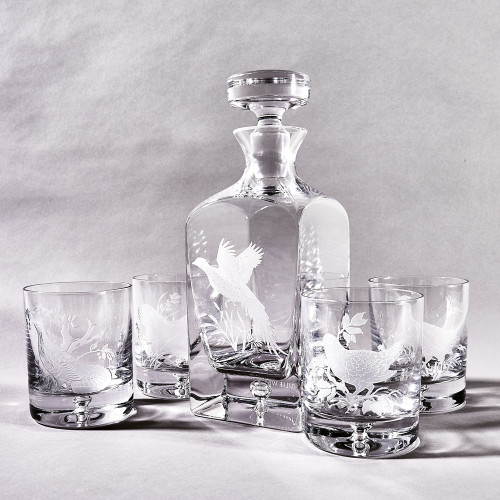 Crystal Pheasant Decanter & Glass Set by Julie Wear