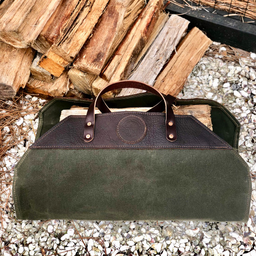 Waxed Canvas Log Carrier by Sea Island Forge