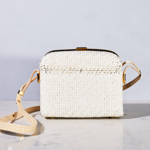 Wicker and Patent Leather Handbag