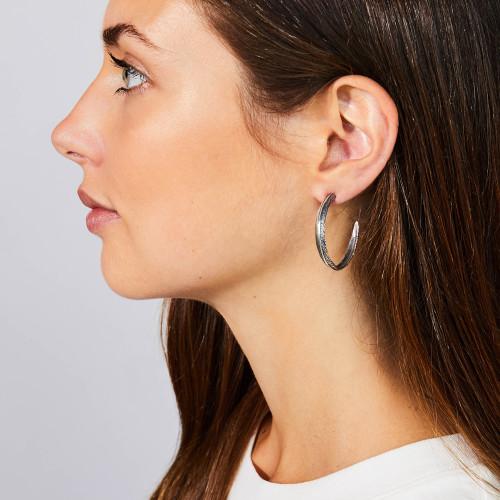 Large Silver Feather Hoop Earrings by Grainger McKoy