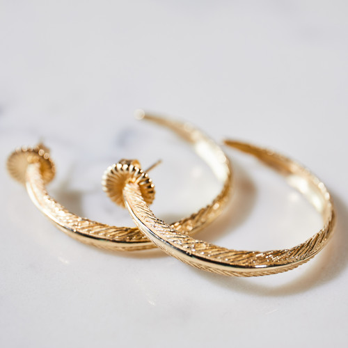 Large Gold Feather Hoop Earrings by Grainger McKoy