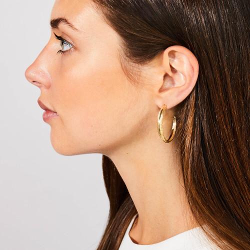 Large Gold Feather Hoop Earrings by Grainger McKoy