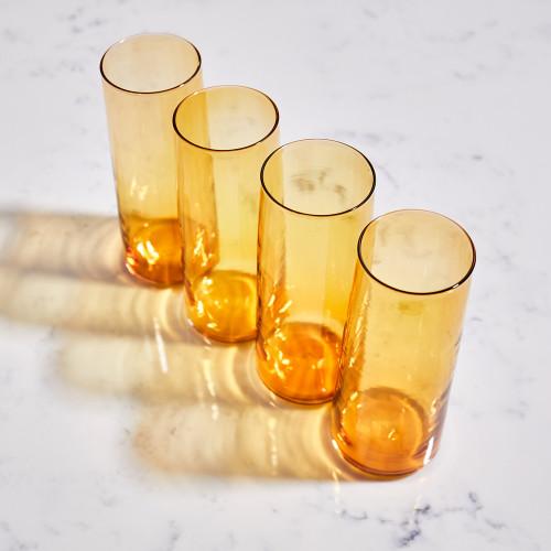 Amber Pitcher & Glassware Set by Terrane Glass