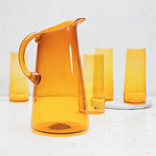 Handblown Pitcher & Glassware Set by Terrane Glass