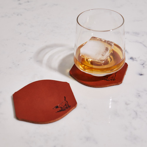 Leather Pointer Coasters by Andrew Lee Design