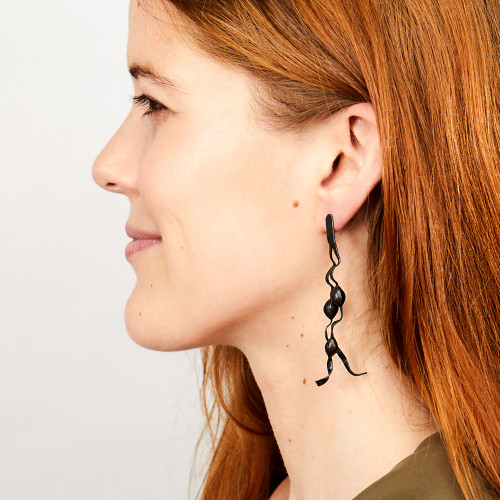 Oxidized Seaweed Earrings by Gogo Jewelry